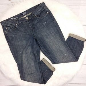 Loft Boyfriend Jeans Dark Wash Distress Roll Cuff